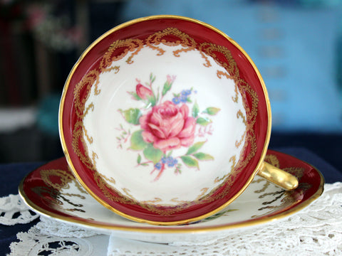 Aynsley Tea Cup, Teacup and Saucer, Burgundy Banding, English Bone China 16303