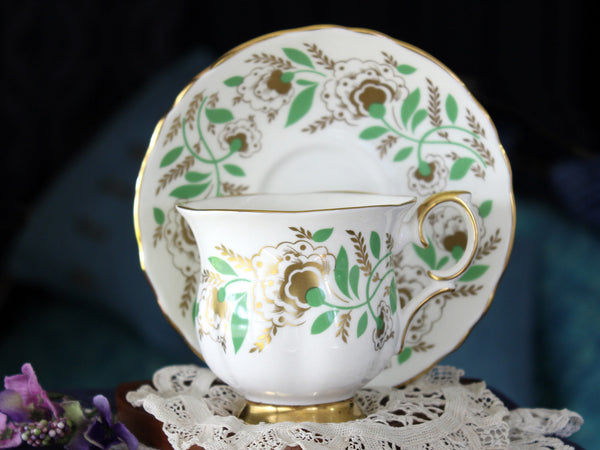 Bone China Teacup & Saucer, Crown Staffordshire, Floral Tea Cup, Made in England 16325