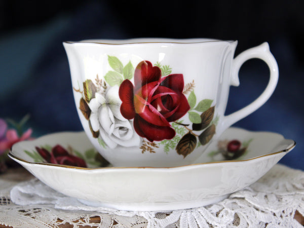 Royal Albert Red Roses, Cup & Saucer, Floral English Bone China Teacup 16347