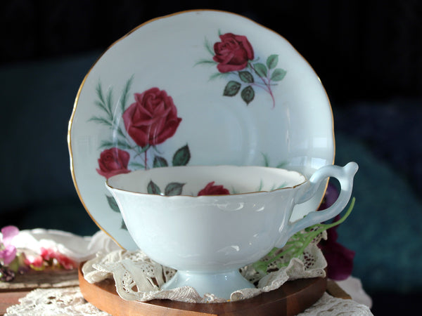 Wide Mouthed Blue Cup & Saucer, Heathcote, Vintage Tea Cups, Red Roses 16386