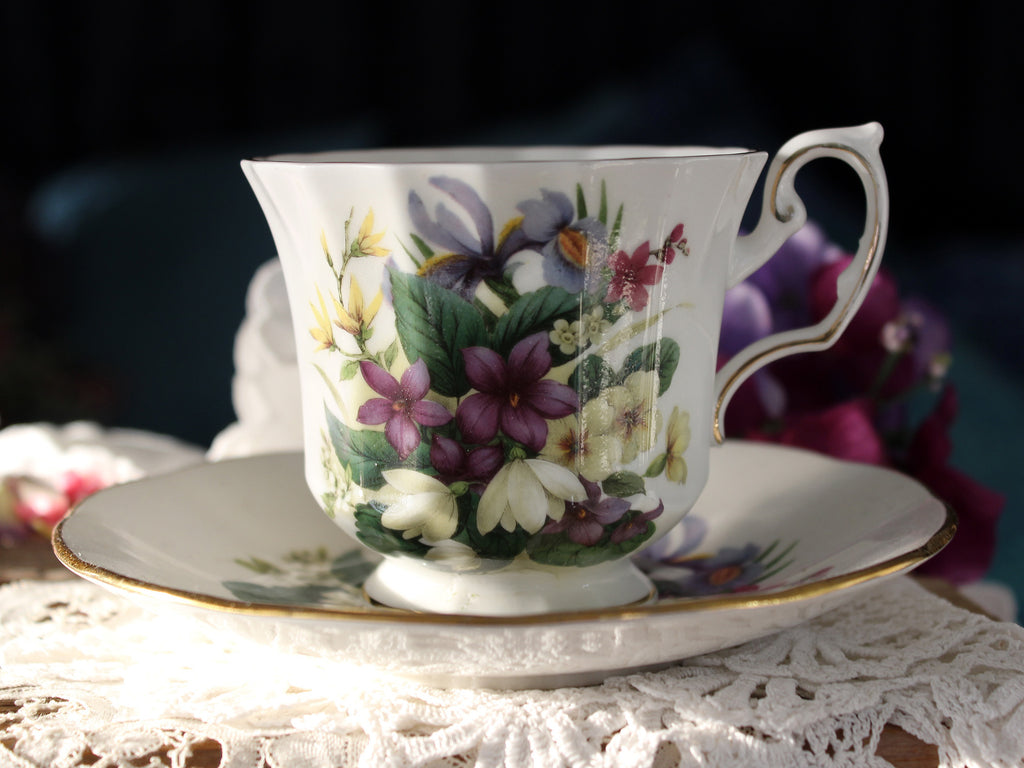 Flowers of the Seasons, Bone China Tea Cup, Elizabethan Teacup & Saucer 16388