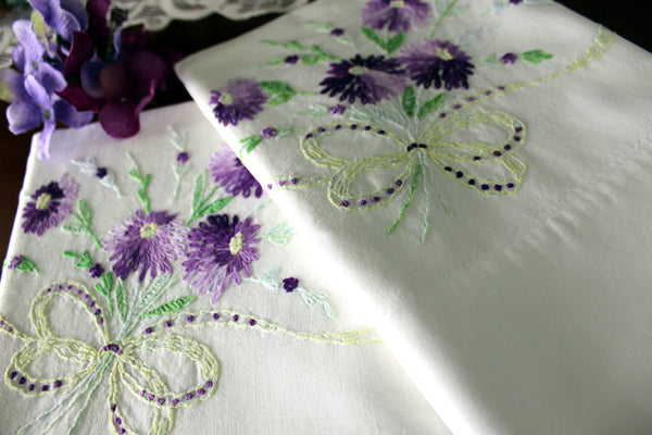 Vintage Pillowcases, Pillow Cases, White Cotton, Embroidered & Crocheted 16390