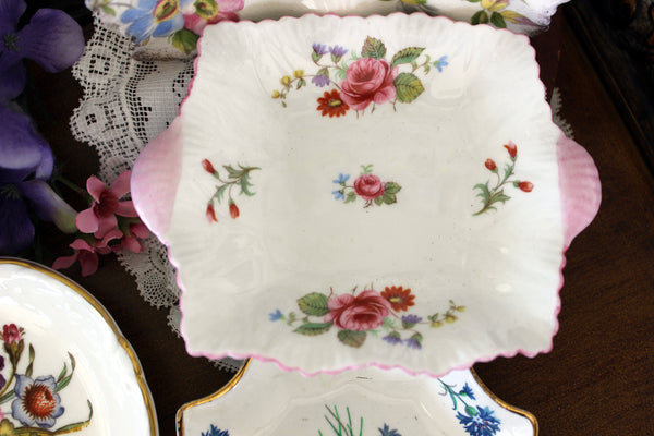 Assorted Pin Dish lot, 4 Vanity Dishes, English Bone China Small Plates 16408