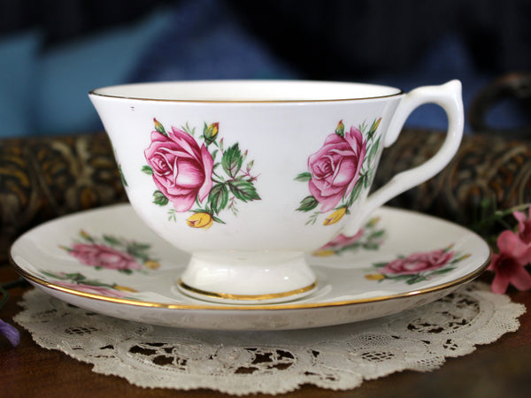 Pink Cabbage Roses Tea Cup and Saucer, English Teacup 16442