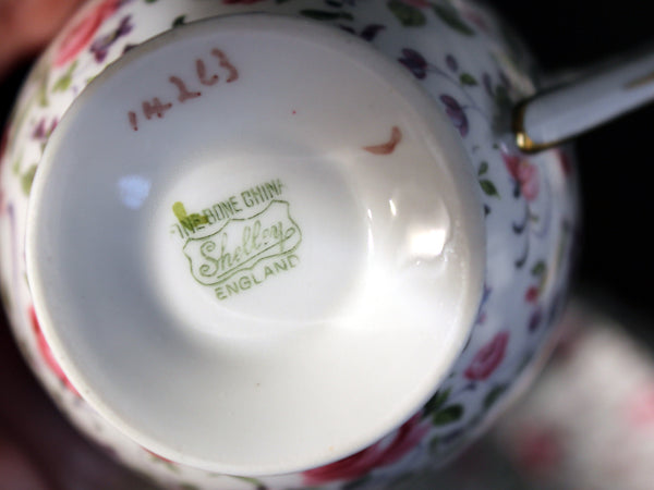 Shelley Briar Rose Chintz RIPON Shape, Teacup & Saucer 16460