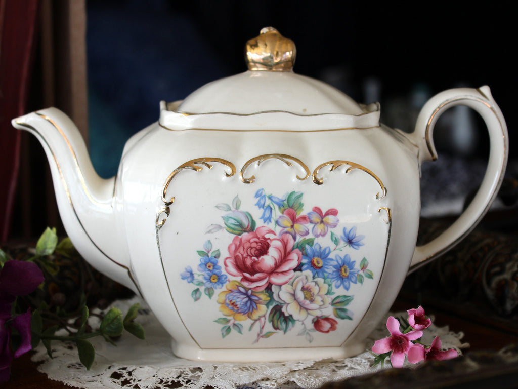 Sadler Cube Shaped Teapot, Tea Pot, Roses & Scroll Gilding 16485