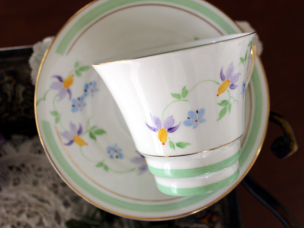 Roslyn Hand Painted Cup & Saucer, Vintage Bone China Teacup, Vintage Teacups 16505