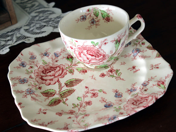 DAMAGED Johnson Bros, Rose Chintz, Snack Plate, Vintage Tea Cup & Plate 16507