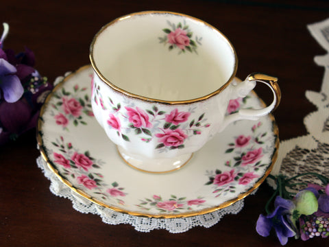Vintage Rosina, Tea Cup and Saucer, Pink Floating Roses Galore 16520