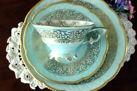 Teal Mitterteich, Teacup, Saucer & Side Plate, Trio Gold Trim, Bavaria Germany 16536