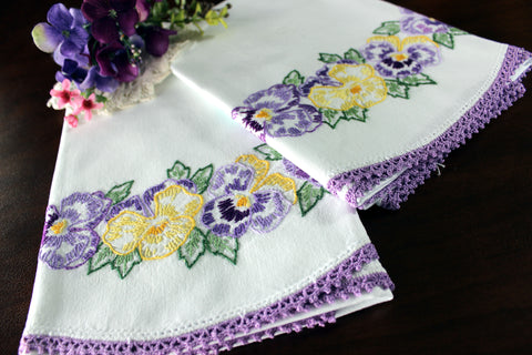 Pansy Pillowcases, Pillow Cases, White Cotton Pillow Slips, Embroidered & Crocheted 16540