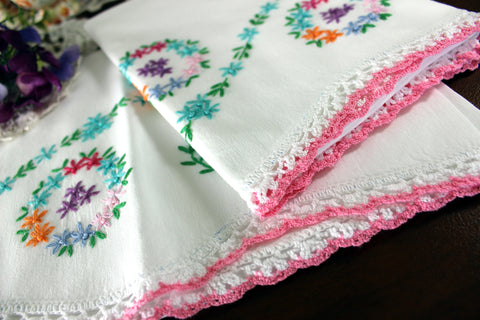 Handmade Pillowcases, Pillow Cases, White Cotton Pillow Case Pair, Embroidery & Crochet 16550