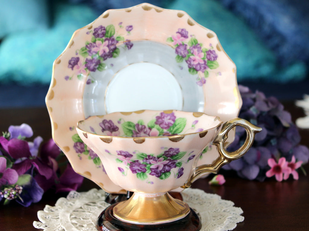Pink & Grey, Lefton Tea Cup & Saucer, Hand Painted, Vintage Lefton Teacup, Violets 16604