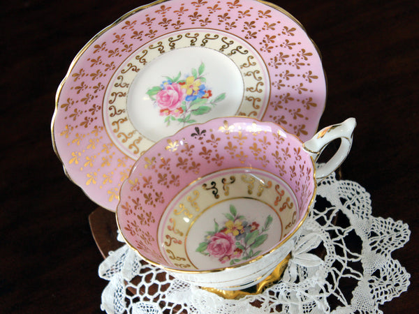 Royal Stafford, Wide Mouthed, Tea Cup & Saucer, Pink and White Teacup 16828