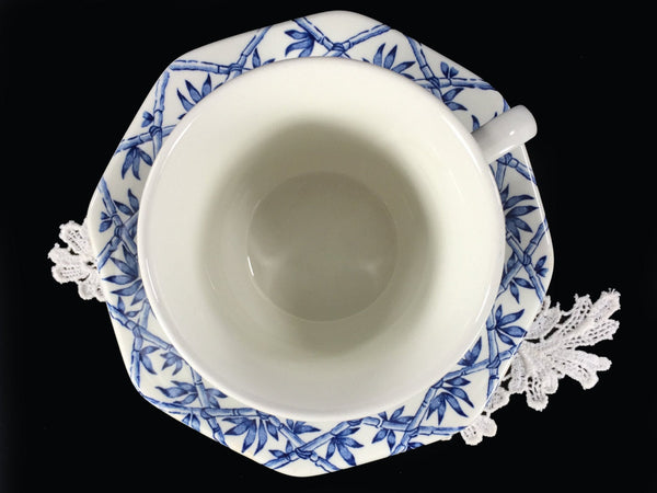 J&G Meakin Blue and White Trellis Tea Cup / Coffee Mug and Saucer, England -J - The Vintage Teacup