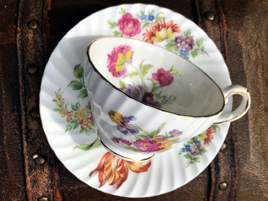 Wide Mouthed Teacup and Saucer, Stanley Bone China Floral Tea Cup -K