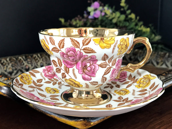 Rosina Cup and Saucer, Heavily Decorated, Gold Banded Tea Cup Made in England -J - The Vintage Teacup