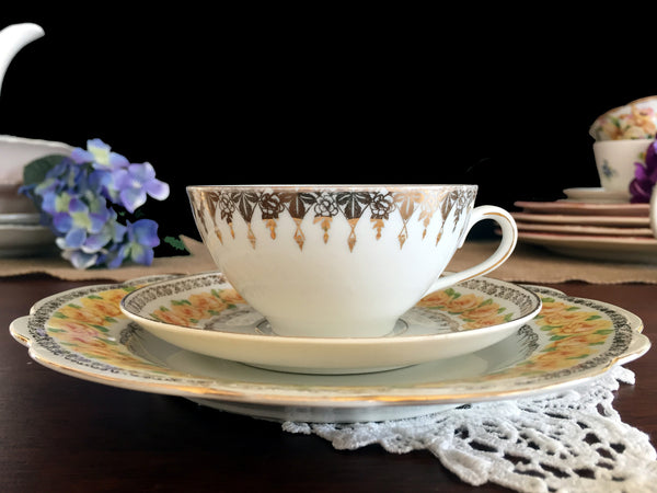 DEMITASSE Antique Trio, Shabby Yellow Rose Teacup Saucer Desert Plate, Czechoslovakia 13803