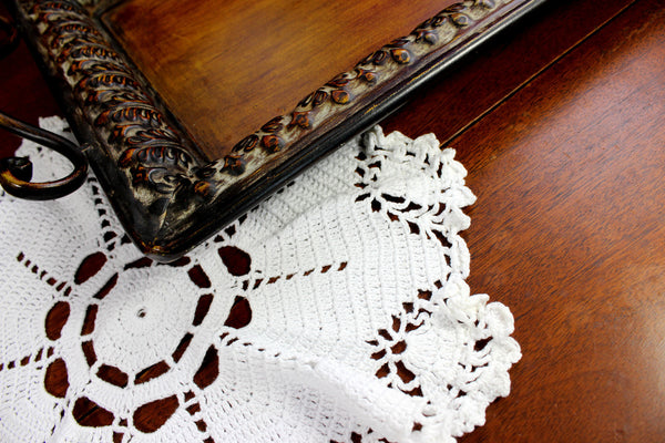 White Doily, Vintage Crochet Doilies, Large Crocheted Doily 12371 - The Vintage Teacup - 2