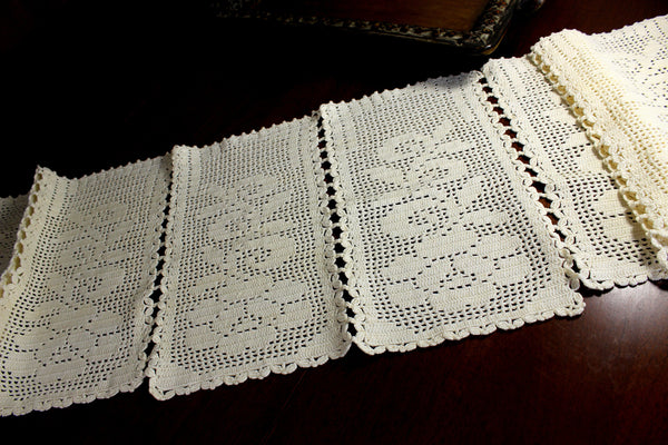 Cream Crocheted Table Runner, Sectioned Table Scarf, Vintage Table Linens 12376 - The Vintage Teacup