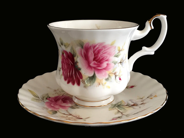 Royal Albert DEMITASSE Teacup and Saucer, Pink Shabby Rose English Demi Tea Cup -J - The Vintage Teacup