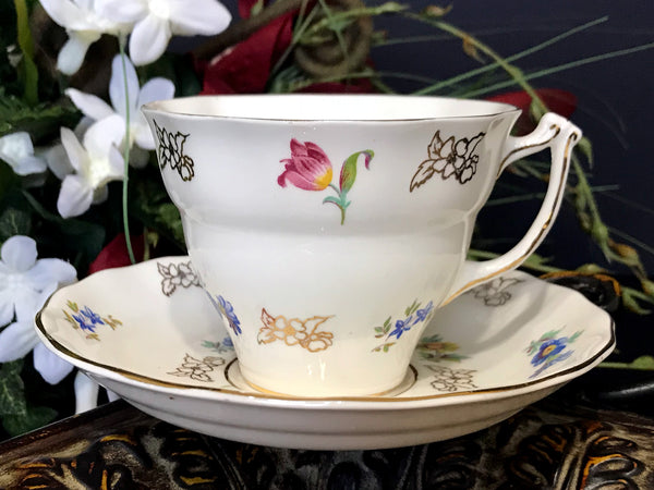 Floral Teacup and Saucer, Old Royal Tea Cup, Made in England -J - The Vintage Teacup