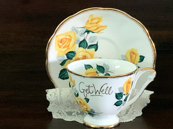 """Get Well"" Cup & Saucer, Princess Anne, Vintage Tea Cups, Bone China -J - The Vintage Teacup"