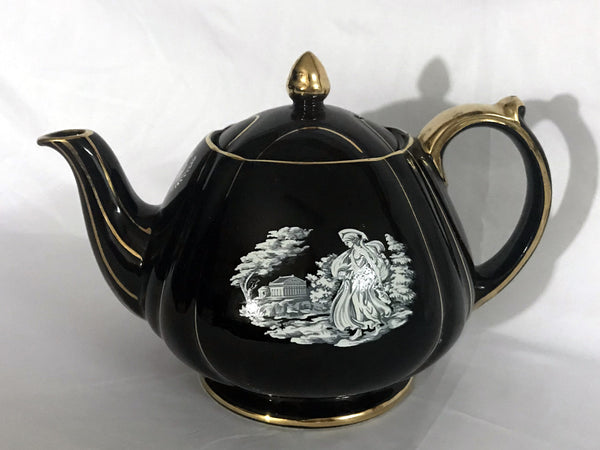 Black Sadler Teapot - Grecian Scene, Collectible Tea Pot  14170 - The Vintage Teacup