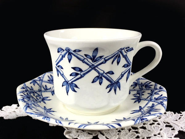 J&G Meakin Blue and White Trellis Tea Cup / Coffee Mug and Saucer, England -J