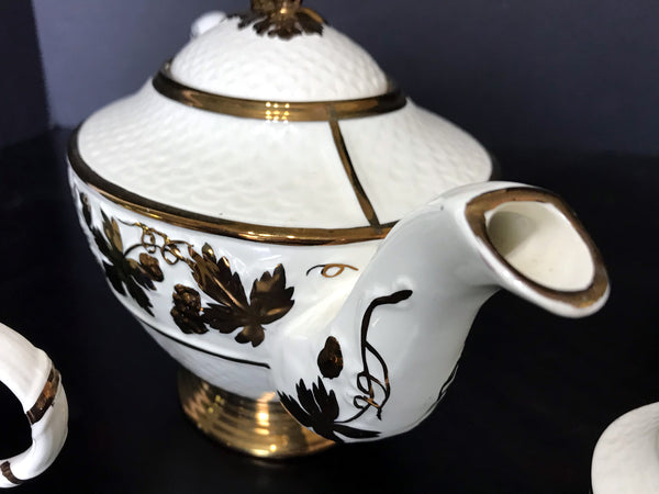 Wade Teapot, Hand Painted Tea Pot Sugar and Creamer, Made in England. -J - The Vintage Teacup