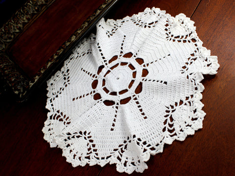 White Doily, Vintage Crochet Doilies, Large Crocheted Doily 12371 - The Vintage Teacup - 1