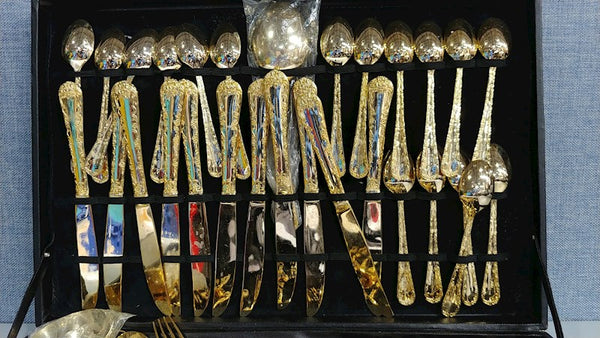 WM Rogers, Goldtone Flatware, Gold Tone Flat Ware, 63 PC, Vintage Cutlery 15422