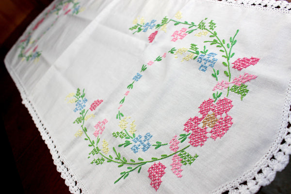 Cross Stitched Table Runner, Cross Stitched Linen Table Scarf, 12349 - The Vintage Teacup - 3