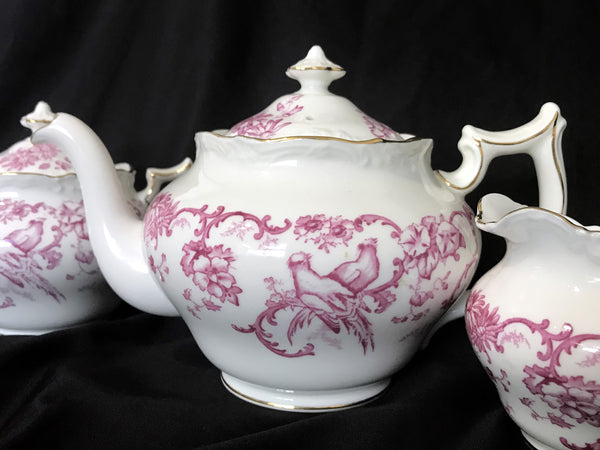 "Royal Cauldon Teapot, Pink ""Marlborough"" Tea Pot Sugar and Creamer, Made in England. -J"