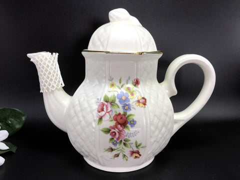 Arthur Wood English Floral Teapot, Full Sized Tea Pot Made in England -J - The Vintage Teacup
