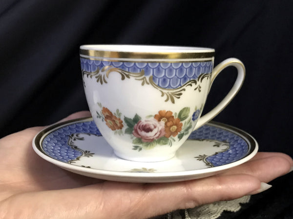 DEMITASSE Blue and White Floral Teacup and Saucer, Demi / Espresso Bone China Cup -K