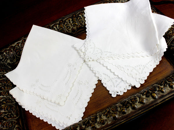 5 Madeira Like Napkins, Embroidered Serviettes, Non Matching but Same Sized 12375 - The Vintage Teacup - 4