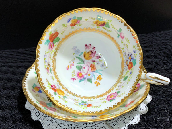 H & Co England Cup and Saucer, Generously Decorated Floral Teacup J-482 - The Vintage Teacup