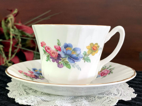 Floral Teacup And Saucer - House of Goebal English Bone China Tea Cup -J - The Vintage Teacup