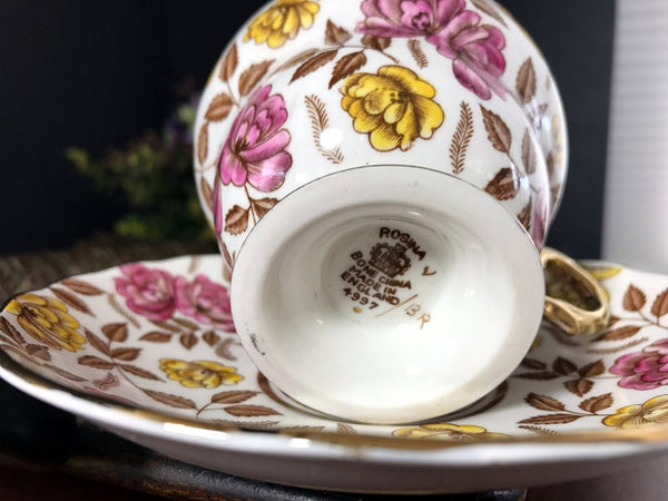 Rosina Cup and Saucer, Heavily Decorated, Gold Banded Tea Cup Made in England -J