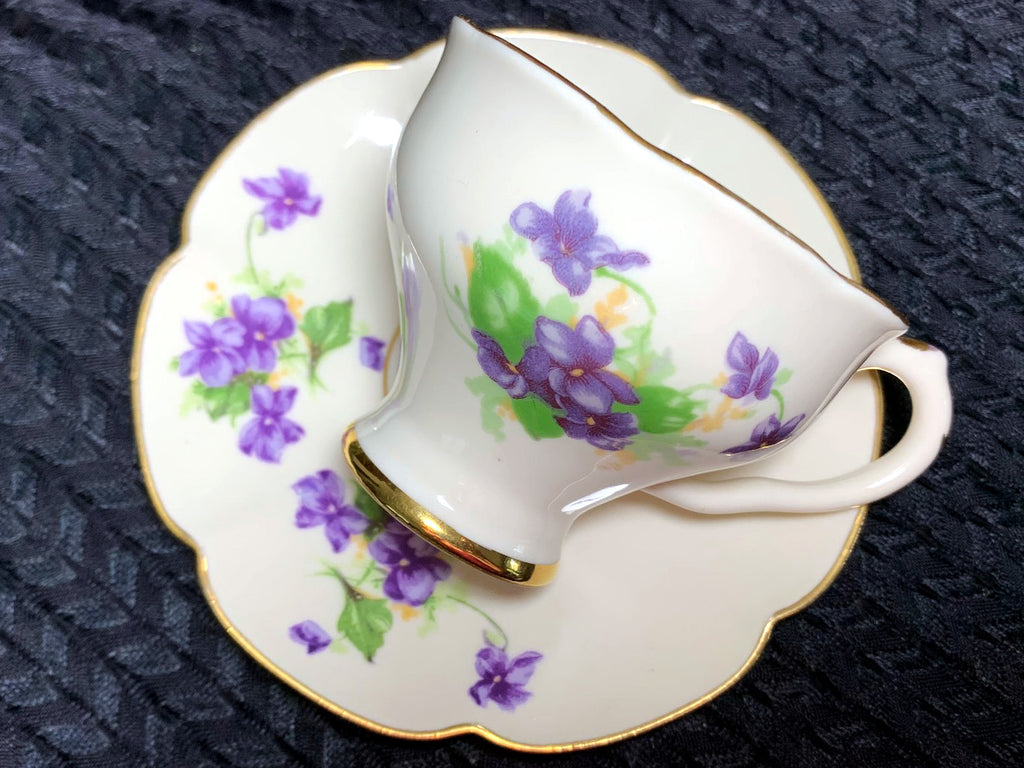 Leneige DEMITASSE Teacup and Saucer, Purple Violets, Demi Tea Cup Made in USA -J - The Vintage Teacup