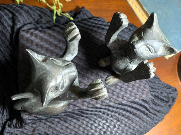 Cat Bookends, Pair of Weighted Book Ends / Door Stop. Made in India -J - The Vintage Teacup