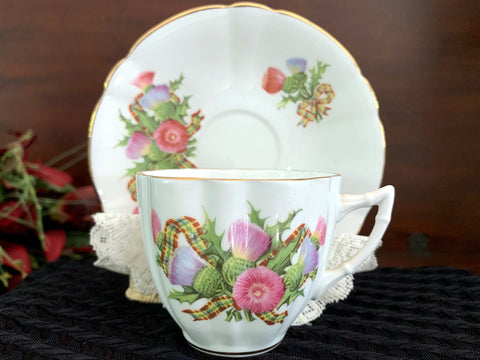 Thistle Tea Cup and Saucer, Clarence Teacup, English Bone China -J - The Vintage Teacup