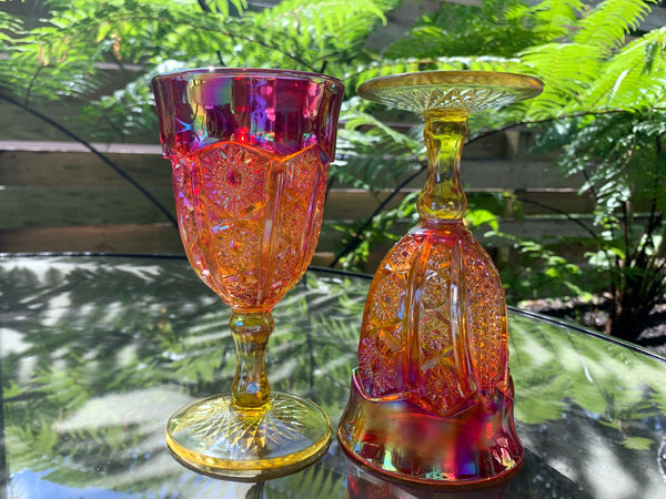 Vintage Iridescent Sunset Indiana Carnival Glass Goblets - Sold in Pairs -J - The Vintage Teacup