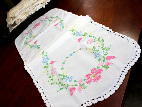 Cross Stitched Table Runner, Cross Stitched Linen Table Scarf, 12349 - The Vintage Teacup - 4