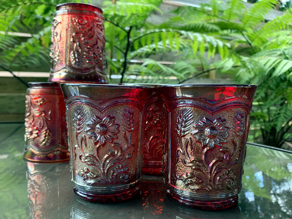 Set of 6 Imperial Glass Tumblers, Iridescent Sunset Colors, Carnival Water Glass -J - The Vintage Teacup