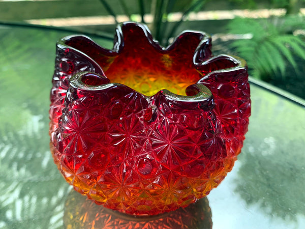 Small Amberina Bowl / Vase Glass Daisy & Button, Vintage Carnival Glass -J