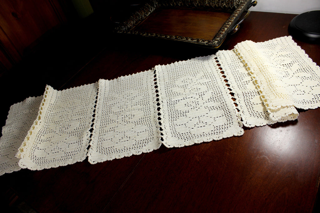 Cream Crocheted Table Runner, Sectioned Table Scarf, Vintage Table Linens 12376 - The Vintage Teacup - 1