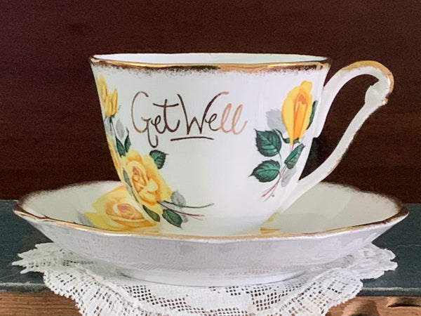"""Get Well"" Cup & Saucer, Princess Anne, Vintage Tea Cups, Bone China -J"