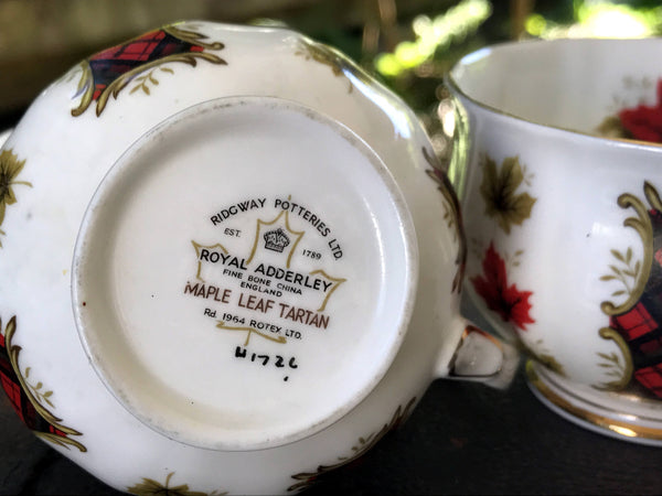 "Cream Sugar Set from Royal Adderley, ""Maple Leaf Tartan"" Creamer and Sugar, English Bone China -J"